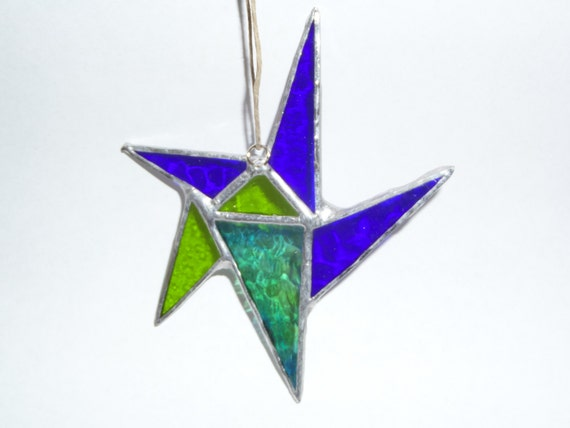 Hand Crafted Stained Glass Star, 6 inch star, Blue Star, Green Star