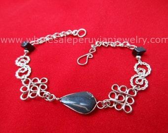 Black Onyx Teardrop Alpaca Silver Diamonds Bracelet Peruvian Jewelry - Handmade in Peru