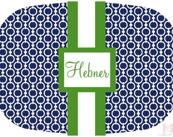 Modern monogrammed green and navy link pattern platter.  The perfect gift- entertain with style! Dishwasher safe! Custom colors available!