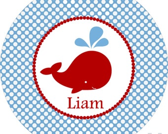 Monogrammed whale nautical red white blue boys dinner plate.   A custom, fun and UNIQUE gift idea! Kids love eating on personalized plates!