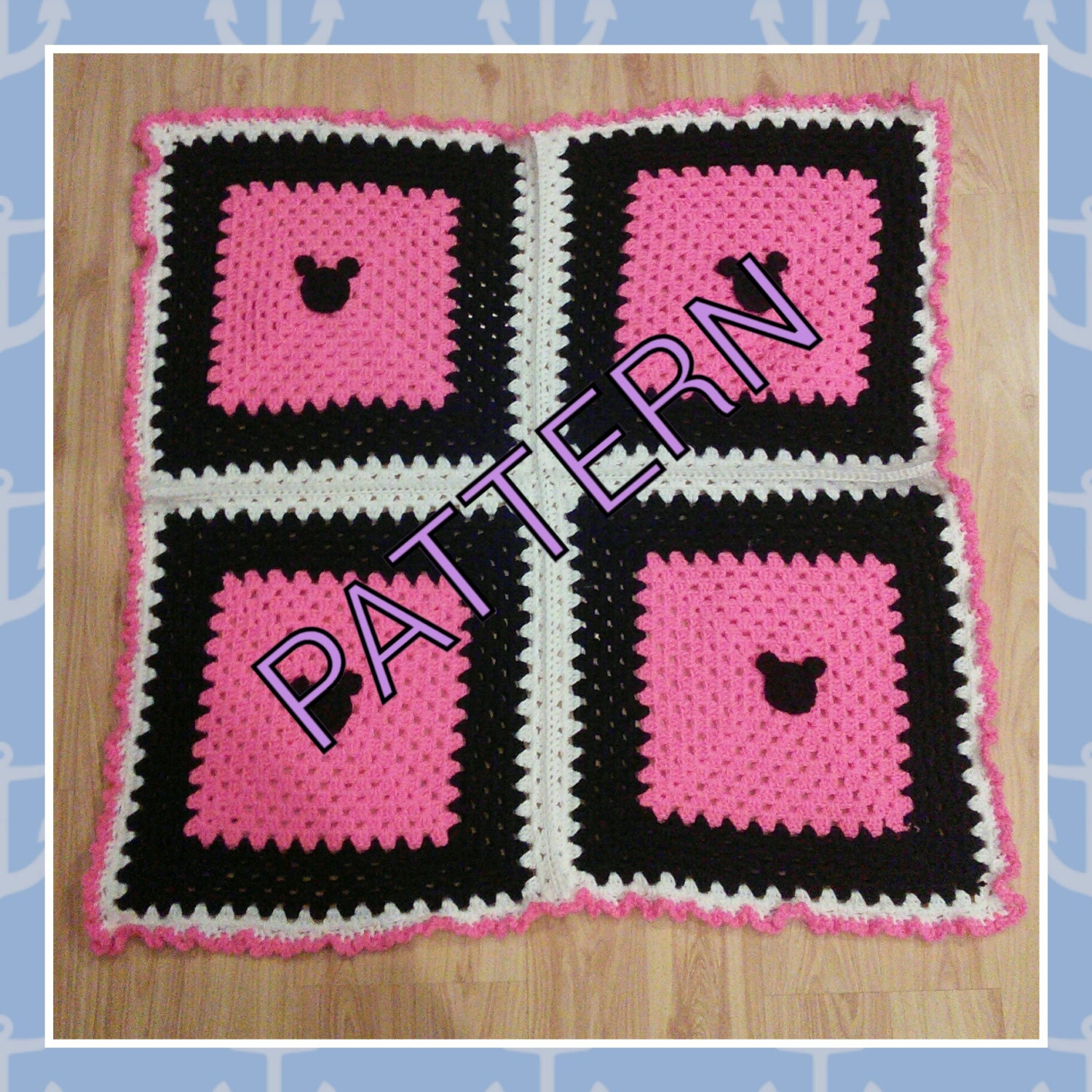 Crochet Pattern For Minnie Mouse Blanket : Pink Black White Minnie Mickey Mouse baby afghan crochet