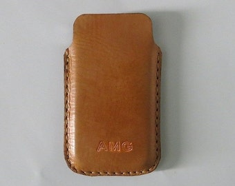 Handmade iPhone 5 / 5S , iPhone 4 and 4S Vegetable Leather Sleeve Case , iPhone Case , iPhone Leather case -  Free Monogramming