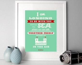 Typographic Print, romantic quote, illustrated quote, Dracula quote, literary quote, romantic print, dreamy literary quote, gothic quote