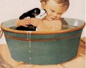 Vintage Good Housekeeping Baby and Puppy Bathing Giclee Art Print With Stretched Canvas Option