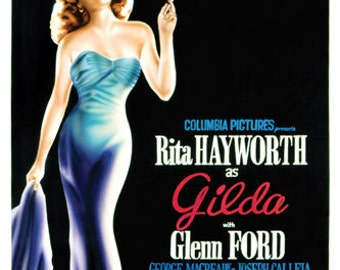 Gilda Rita Hayworth Vintage Movie Poster Giclee Art Print WIth Stretched Canvas Option