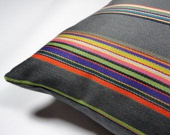 "Maharam Syncopated Stripe fabric designed by Paul Smith - 17"" x 17"" modern pillow with feather insert"