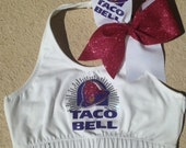 Taco Bell Sports Bra and bow combo or choose only sports bra or only bow