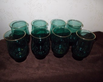 Vintage Turquoise Glass With Gold Trim.