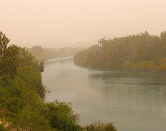 Misty River Dreamy photograph Dreamy river Fog photography,Yellow