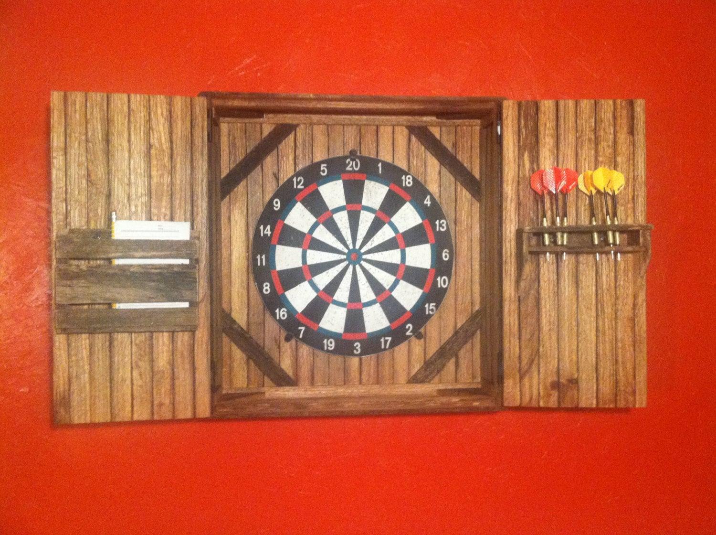 Dart Board Cabinet With Chalkboard Rustic Dartboard Cabinet Reclaimed Barn Wood Home Decor