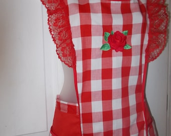 Vintage style red and white gingham apron with rose embroidery