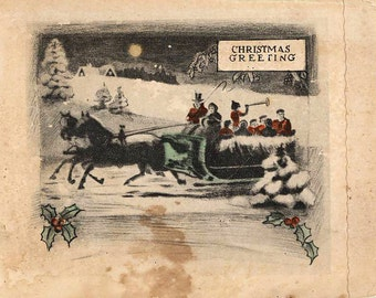 Vintage Christmas Card Victorian Theme Horse Sleigh Revelers Hand Colored