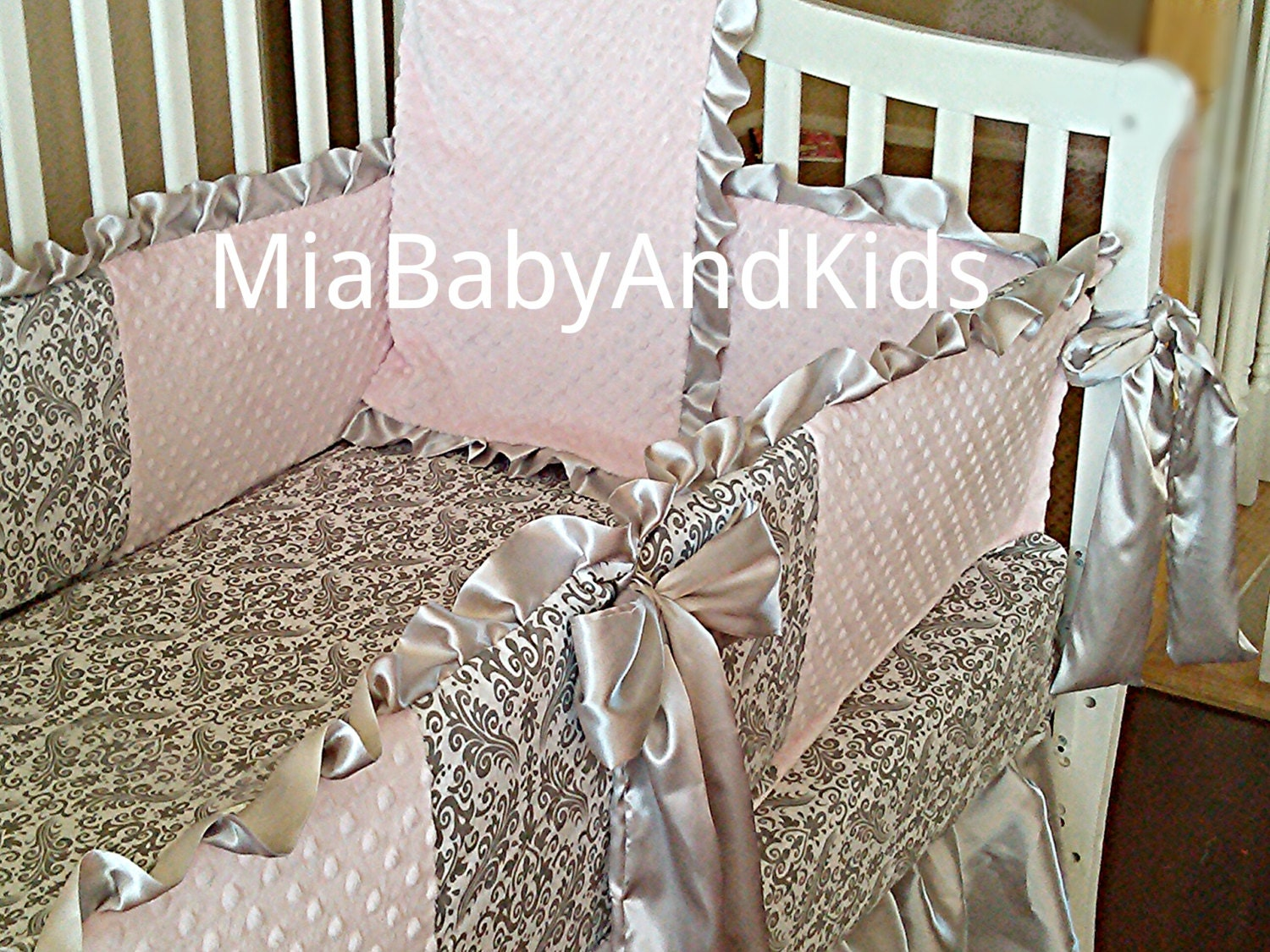 light pink with gray damask crib bedding set by miababyandco. Black Bedroom Furniture Sets. Home Design Ideas