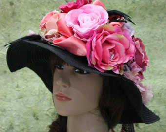 A Black Weave Church HAt Decorated With Satin And Flowers