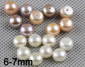 5pairs,button pearls,bulk pearls in matched pairs, freshwater cultured pearls,loose button pearl bead,pearl pairs for earring and stud LP004