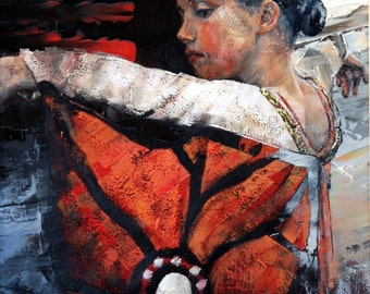 Limited edition, art print, giclee, on 100% cotton rag, archival paper, original, impressionist, oil, painting, 'Butterfly Dancer'. For Her.