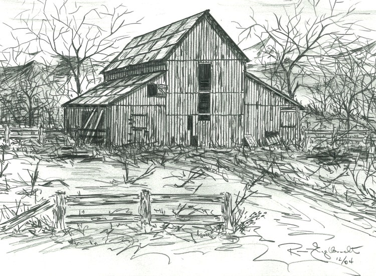 Pencil Sketches Of Old Barns Drawings Of Old By