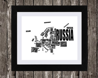 Map of Europe, Typography Map, Europe Map, Instant Download, European Countries, Word Art, Wall Art, Black, White, Typography, 14 x 11""