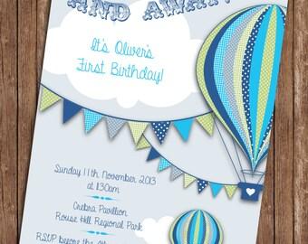 Hot Air Balloon Blue Birthday Invitation