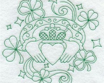 Claddagh design - Embroidered Flour sack towel pair Great Gift!