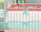 Girl Baby Crib Bedding: Coral and Teal Floral 3-Piece Crib Bedding Set by Carousel Designs