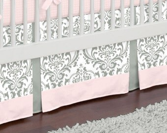 "Baby Girl Crib Bedding: Pink and Gray Traditions Crib Skirt - 14"" or 20"" by Carousel Designs"