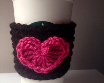 Valentines Theme Crochet/Knit Coffee Sleeve/Cozy (Black & Pink)