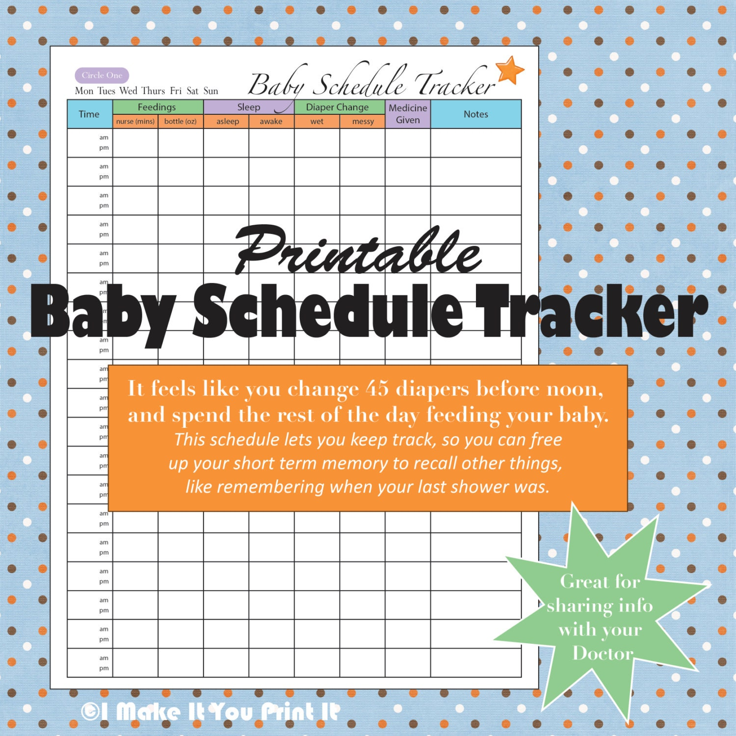 Printable baby schedule tracker and twins schedule tracker for Baby routine template