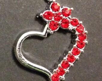 Rhinestone Heart Charm (1), Red Rhinestones, Valentine Rhinestone Charm, Charm Pendant for Bracelets, Necklaces or Earrings