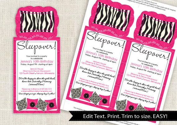 Sleepover Party Invitation Template - DOWNLOAD Instantly - EDITABLE ...