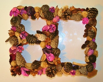 Natural Pine Cone Picture Frame