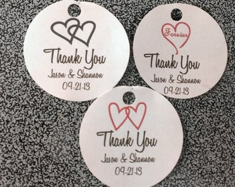 Round Wedding Favor Thank You Favor Tags White or Ivory Personalized Hearts