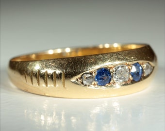 Antique 18k Victorian Sapphire and Diamond Ring Hallmarked Chester 1890