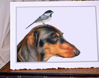5 Note cards, greetings cards, dachshund and bird.