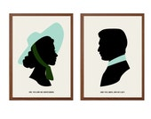 GONE with THE WIND | You Are No Gentleman Poster : Scarlett and Rhett Modern Illustration Retro Art Wall Decor - Set of Two Prints