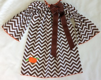 ON SALE: Custom Boutique Brown Chevron Shirred Peasant Dress with Give Thanks Pumpkin Embroidery