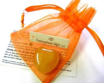 Gemstone Hearts, 30 MM, Puffy, Yellow Agate, Chakra, Reiki, Yoga, Feng Shui, Healing, Gift Set,
