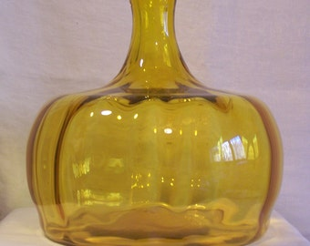 ON SALE!! Blenko Jonquil Yellow Pumpkin Decanter
