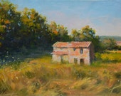 Original fine art impressionist style oil painting canvas on bord Old stone farm house Aix en Provence, French landscape oil painting France