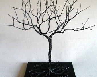 Black l Jewelry Tree Stand,  wire tree sculpture.  perfect for necklaces , earrings ,  rings , etc.  display holder tree , organizer. 14
