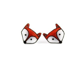 Fox Earrings, Shrink Plastic, Surgical Steel Posts,  Fox Jewelry, Girls Earrings