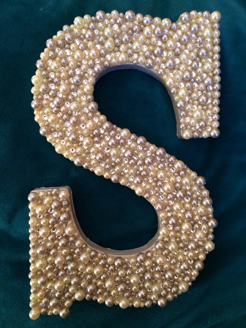 wooden letter s with white and gray pearls swarovski crystals monogram wall art baby room wedding decorations bedazzledbling