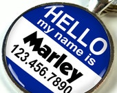 Hello My name is pet tags custom pet id tag unique pet id tag dog tag cat tag - 2 sizes available