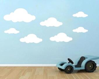 18x Cloud Wall Stickers Vinyl Decals Children's Room Nusery Boys Girls Transfer white 60x60