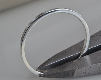 Solid 925 Sterling Silver 1mm Square Shape/Profile Plain Minimalistic Simple Band Ring