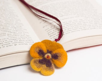 Needle Felted Wool Bookmark Yellow Brown Pansy Flower Sculpture Christmas Valentines Mother's Day Present Decoration Miniature Collection