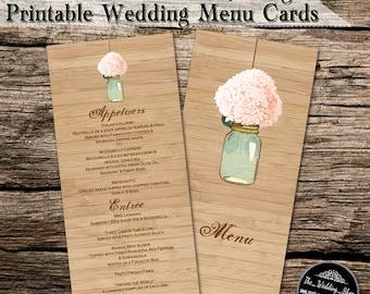 Peach Hydrangea & Mint Mason Jar  Rustic DIY  Wedding Menus Printable PDF
