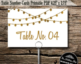Instant Download- Printable PDF DIY White & Gold Glitter Effect Design Wedding Table Number Card Template; 8 Per Sheet
