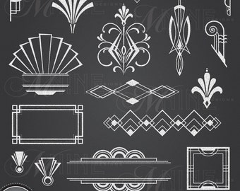 CHALK ART DECO Clipart: Chalkboard Art Deco Clip Art Design Elements, Instant Download, Vintage Accents