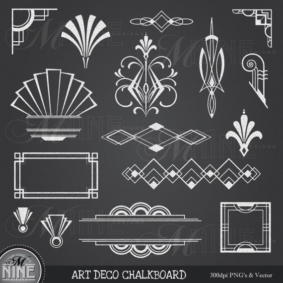 Art Deco Graphic Design Elements Chalk Art Deco Clipart Chalkboard